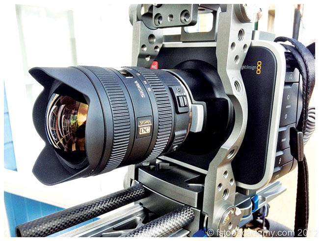 Blackmagic Design Cinema Camera with Sigma 8-16mm lens in BEBOB cage.