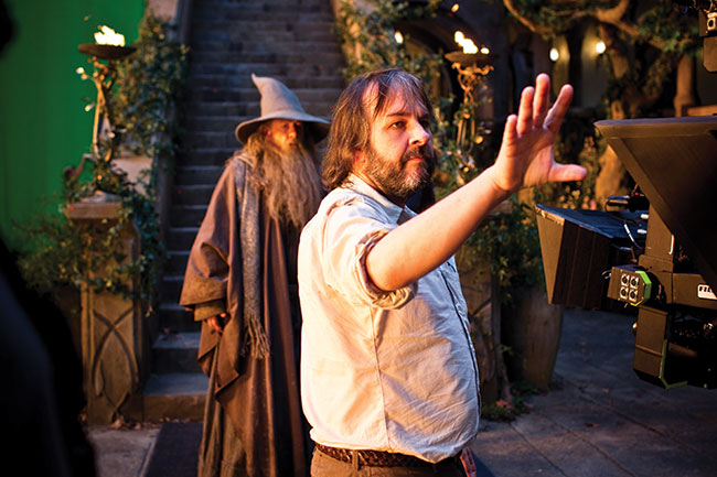 Director Peter Jackson with a couple of Epics and a wizard