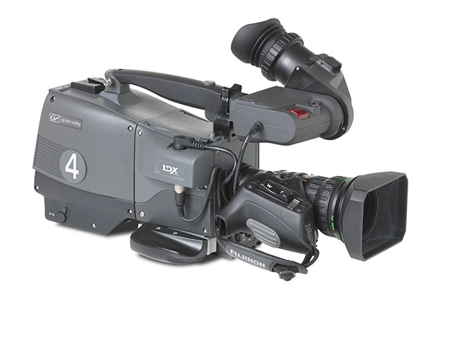 The new Grass Valley LDX Flex, the range's entry level camera more for acquisition than studio work but can be upgraded to any of the higher spec'ed products.