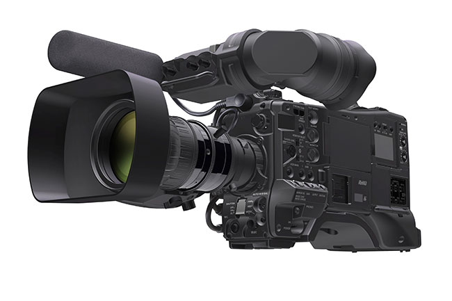 Panasonic's 2/3 type, 3 chip AJ-PX5000G AVC-ultra P2 HD camcorder with Micro P2 card slots and AVC-long g 1080/50p recording.