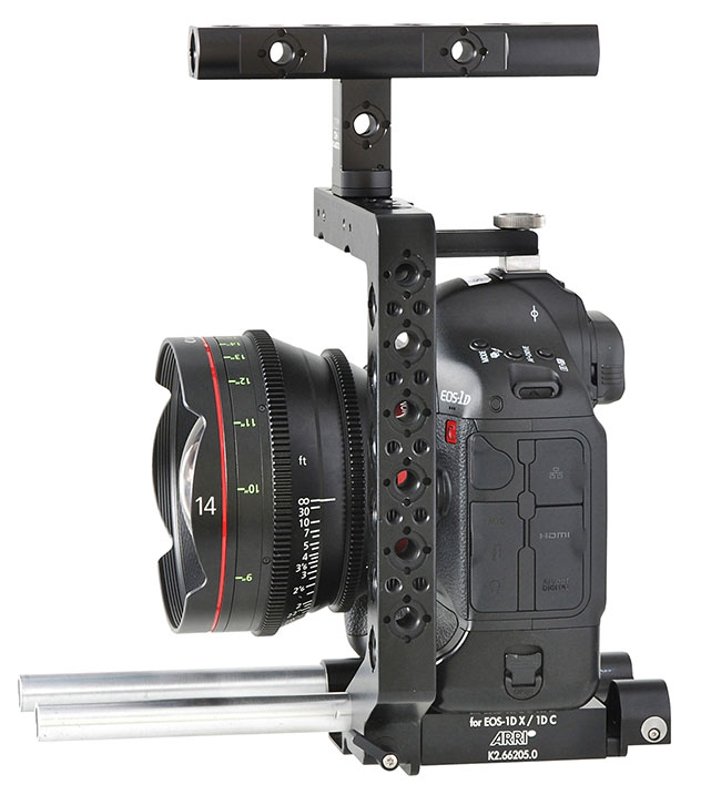 Arri's New Pro Camera Accessories shown at NAB 2013 include a base plate for Canon's 1DC & 1DX.