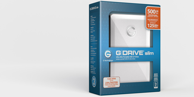 G-Tech's G-Drive Slim (pictured above) and mobile get big speed bumps from their previous models.