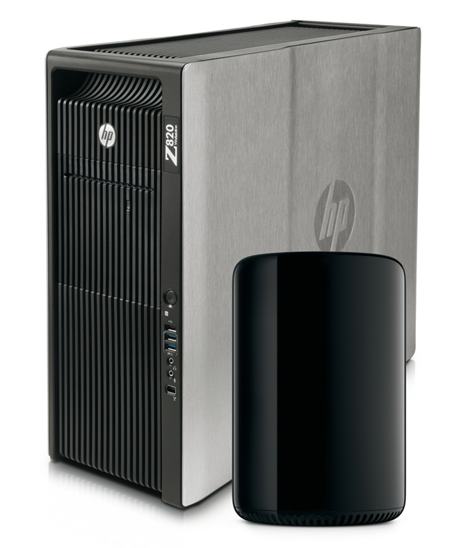Style-wise, light years apart, the HP Z820 is 17.5 inches high with the new Apple Mac Pro only 9.9 inches high and not fitting our traditional image of a desktop computer at all. But is it style over substance?