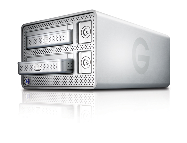 The G-Dock ev with Thunderbolt is a two disc docking station with a Thunderbolt interface. Each disc can be mounted separately, or the two can be configured a a RAID 0 or 1 pair. What makes the G-Dock unusual is that the undocked discs function as stand-alone, portable USB 3 drives.