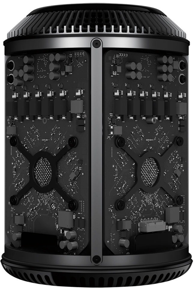 The three main number crunchers (the CPU and two GPUs), along with all the other bits that get hot, are bolted to a triangular heat sink, with a custom fan on the top pulling air up through it –it's the fan that gives the new Mac Pro its cylindrical shape.