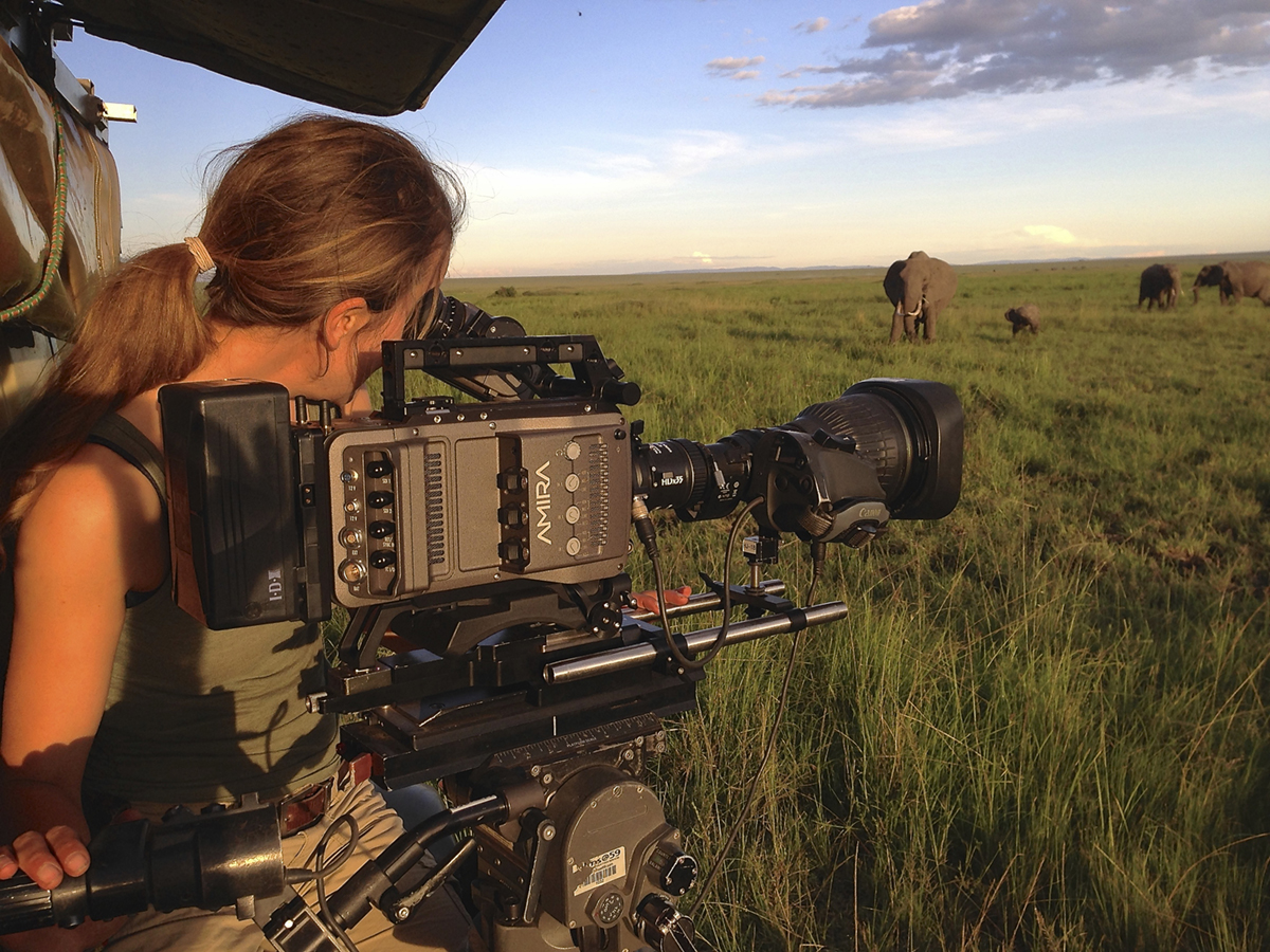 Susan Gibson on the Masai Mara in Kenya with the Arri Amira and Canon lens.