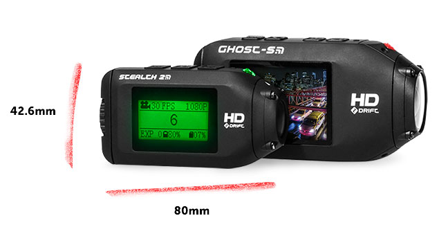 The new Stealth 2 action cam with Drift's 'normal sized' Ghost S.