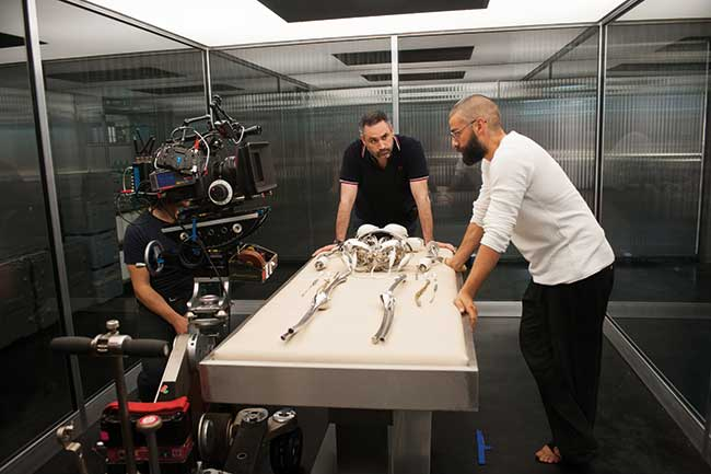 On set with actor Oscar Isaac (Nathan), Director Alex Garland and DoP Rob Hardy with Sony's f65 camera.