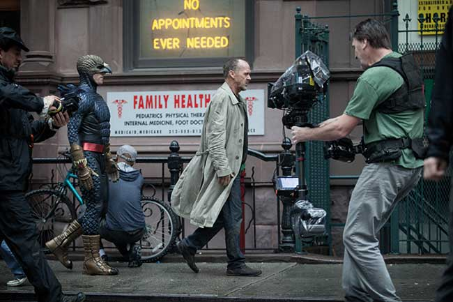 """Michael Keaton as """"Riggan"""" on the set of BIRDMAN. Photo courtesy of Fox Searchlight Pictures."""