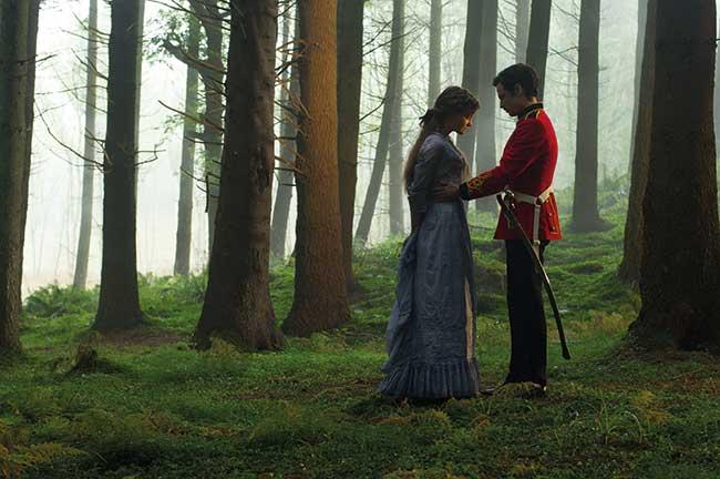 Carey Mulligan as Bathsheba Everdene and Tom Sturridge as Sergeant Troy in 'Far From The Madding Crowd'.