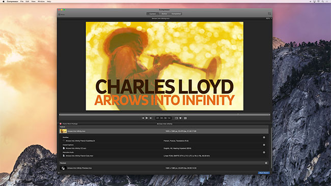 The Charles Lloyd documentary Arrows Into Infinity. Pictured is part of the iTunes Store Package authoring within the new version of Compressor.