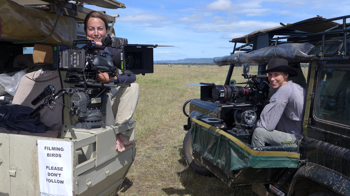 A couple of 'filming birds' – Susan Gibson and Sophie Darlington.