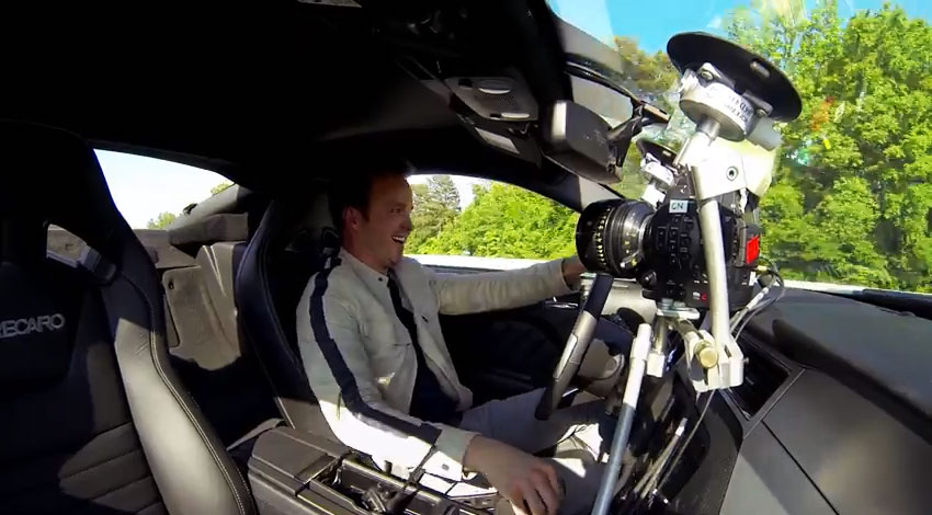 Actor Aaron Paul in car and on camera with a 4k Canon C500 getting close ups.