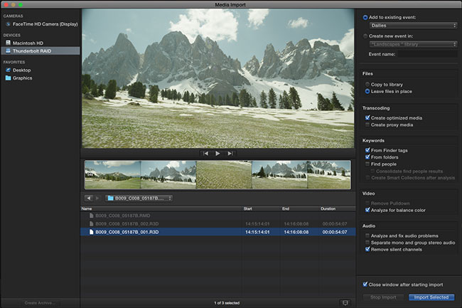 FCP-X's new single page import window.