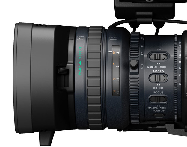 The Fujinon lens offers rings for zoom, iris and focus.