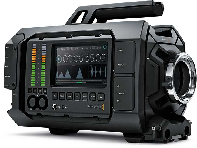 URSA uses the same 4k sensor as Blackmagic's Production Camera. It shoots 4000x2160, 3840x2160 and 1920x1080, encoded as CinemaDNG (with, or without lossless compression) or ProRes –HQ, 422, Proxy or LT.
