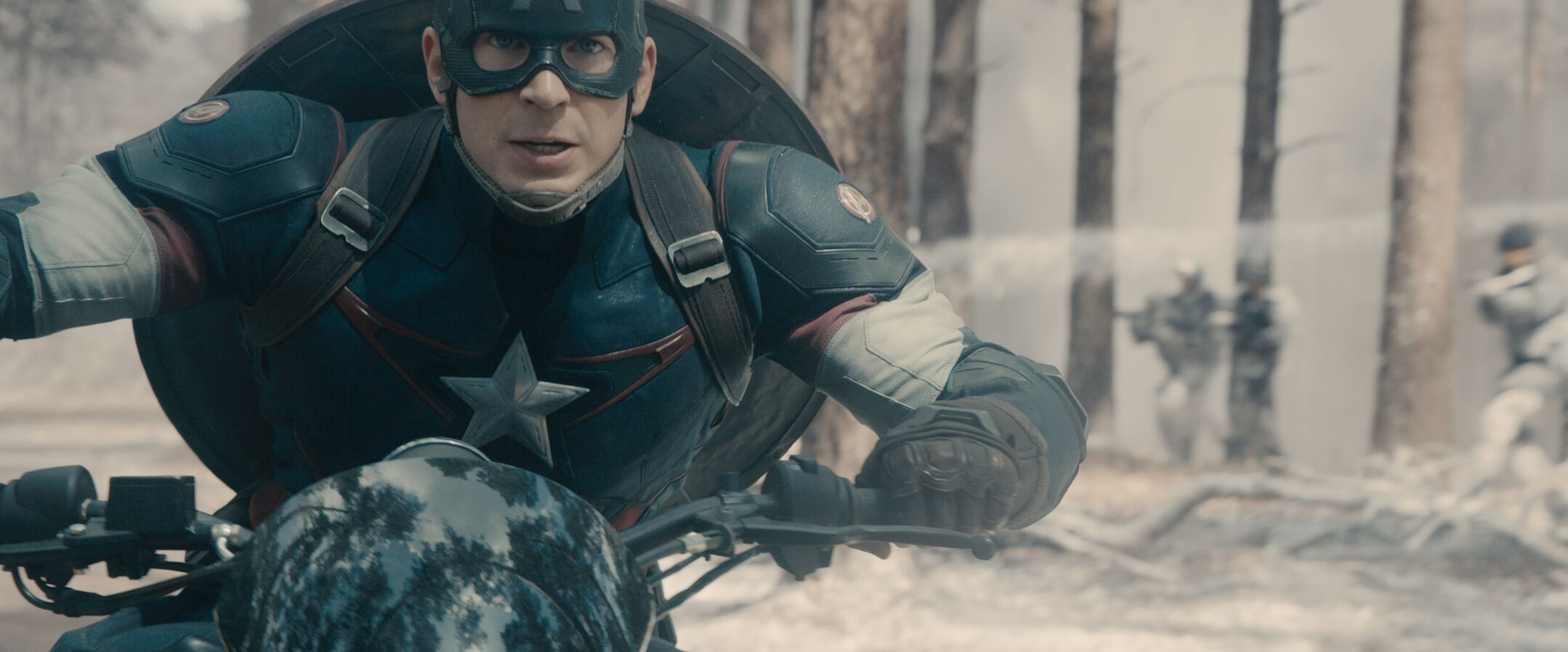Captain America in Avengers: Age of Ultron. DP Ben Davis use of Blackmagic Pocket Cameras as crash cams was inspired by the movie Rush, shot by Anthony Dod-Mantle.