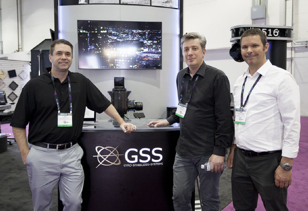 (From left to right: Steve Rudolph designer of the GSS gimbals and GSS associate, Benoit Dentan CEO of XD Motion, Jason Fountaine Managing Director of GSS).
