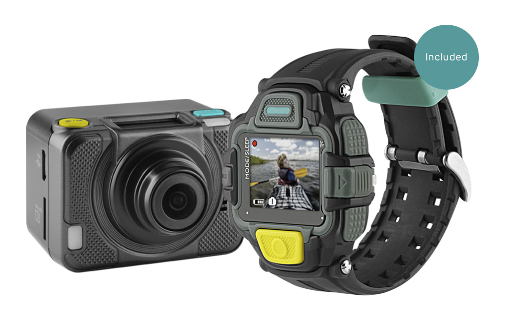 The new EE action cam has hardly any recording memory but is expandable. But the idea is to use the EE Network to stream 4G directly to devices. The watch is your viewfinder.