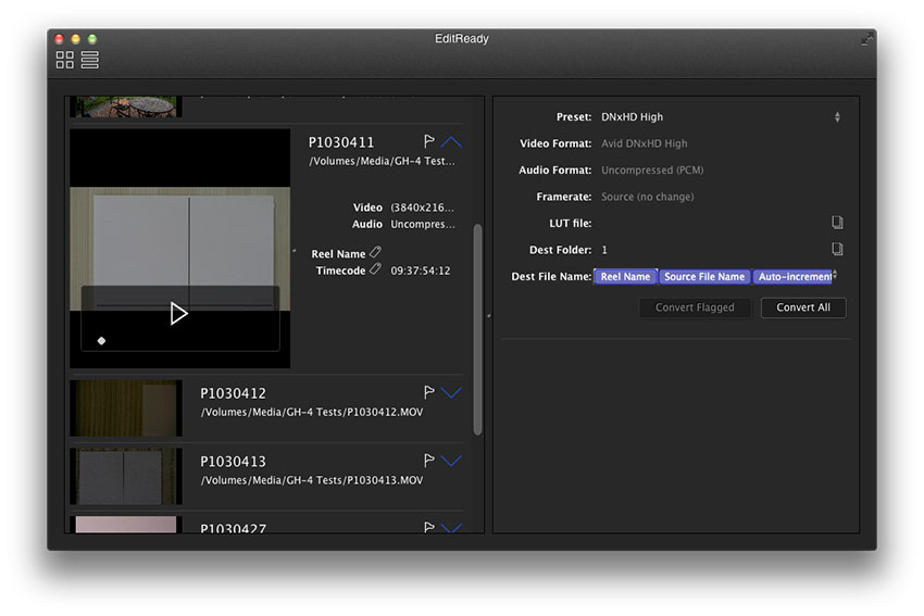 EditReady takes pretty much any format video (if it will play in Quicktime then it's likely to be compatible – so no REDCODE RAW) and transcodes it to ProRes, DNxHD or H.264.