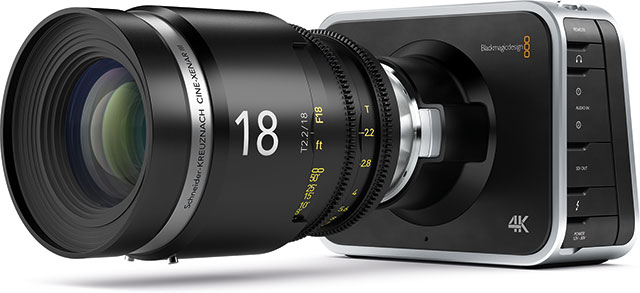 The Production Camera has the same love-it-or-hate-it form factor as the Cinema Camera and comes with a Canon EF lens mount - which makes much more sense with its Super 35 sized sensor than the CC's smaller silicon, if you want to use wide angle lenses. There is also a new, PL mount version.