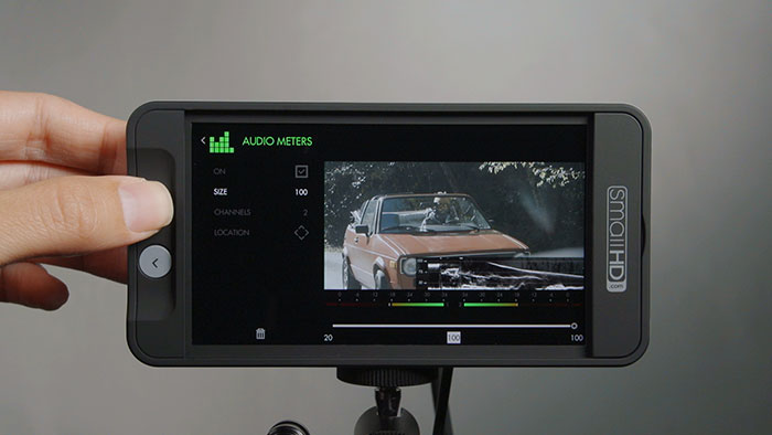 v1 firmware for SmallHD's series 500 5-inch monitors brings on-screen audio meters.