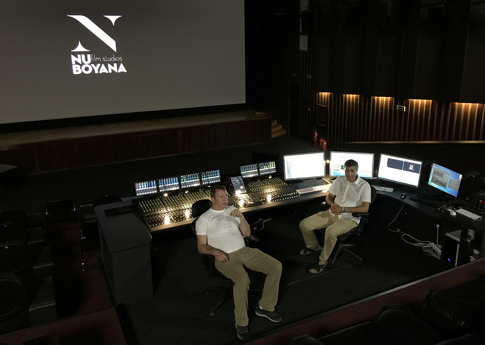 Yariv Lerner (left) CEO of Nu Boyana and Ivo Natzev in their main mixing room with the Avid Pro Tools S6 surface.