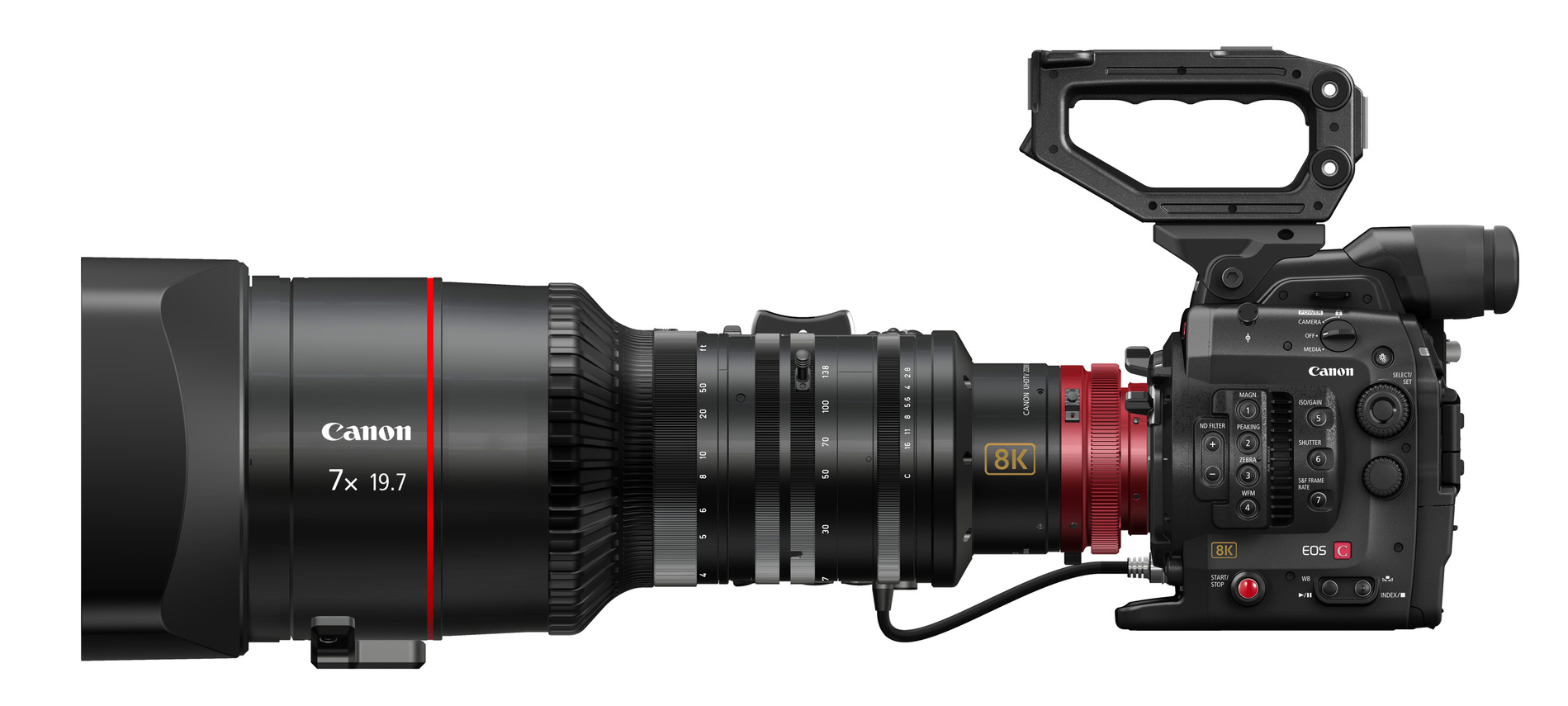 A render of a possibile 8k Canon EOS camera with 8k lens.
