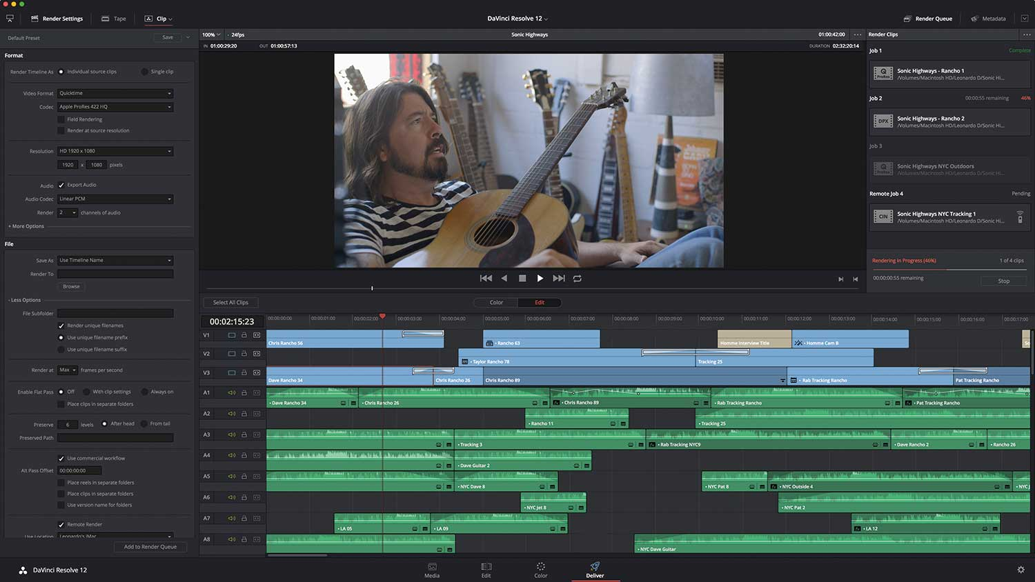 Resolve 12's new DELIVER page.