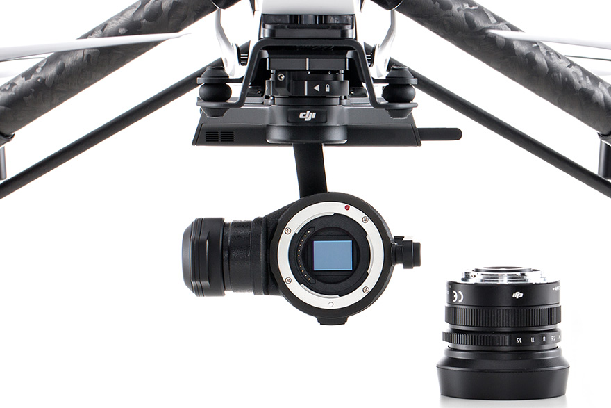 DJI's Zenmuse X5R with the MFT sensor exposed.