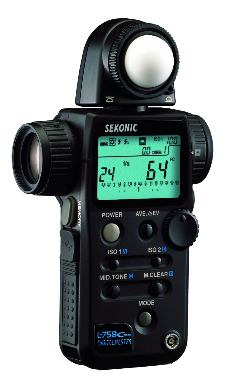 Sekonic L-758 Cine Light Meter.      Incident and spot-metered reflective light readings. Store profiles of up to three cameras. Frames per second, cine shutter speeds and shutter angles and it works for stills photographers too. Expensive but frighteningly capable. Around £570.