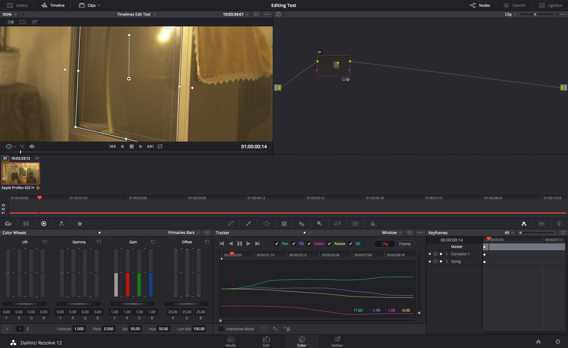 Resolve 12's Tracking.