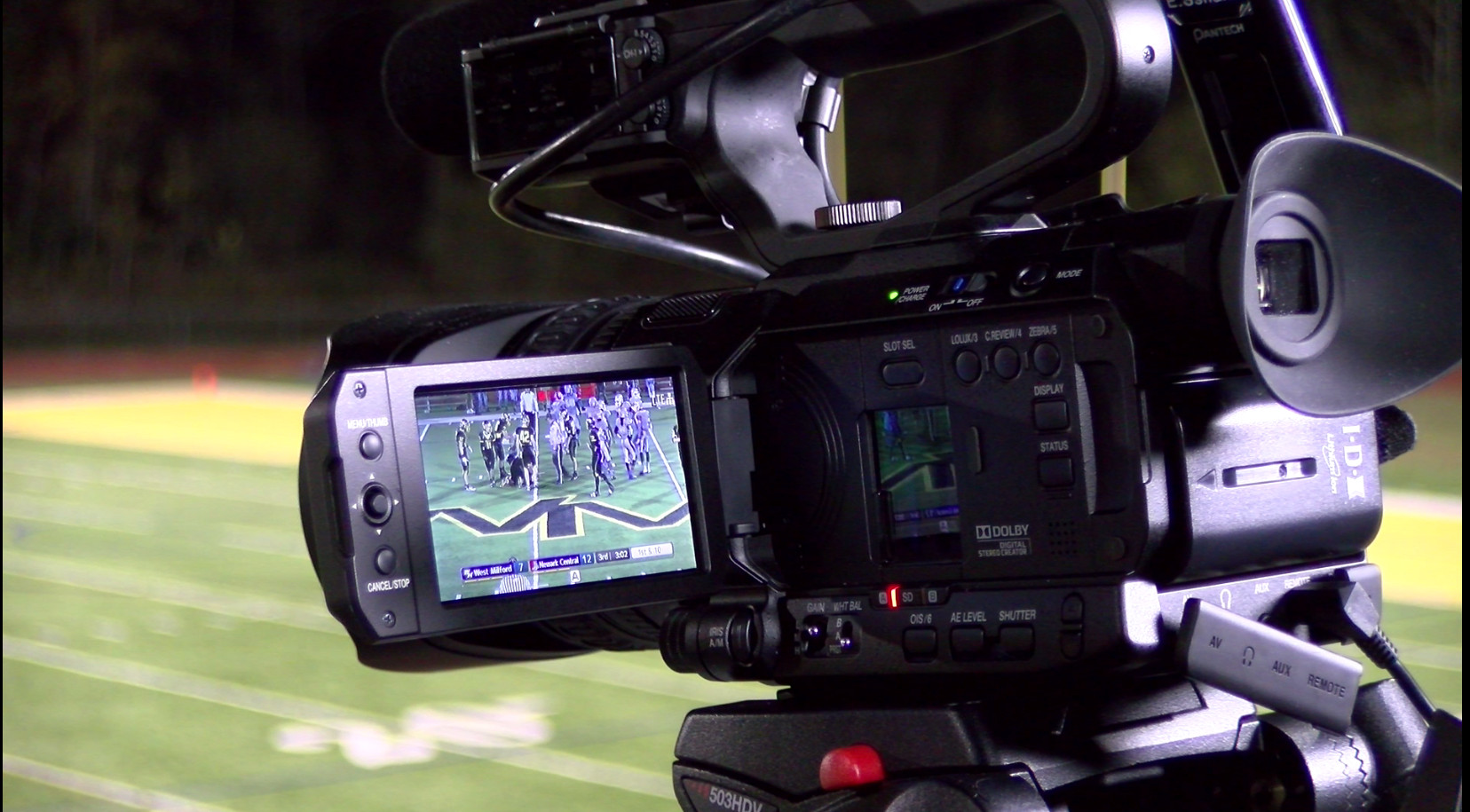 The overlay for sports coverage on JVC's GY-HM200 SP camcorder