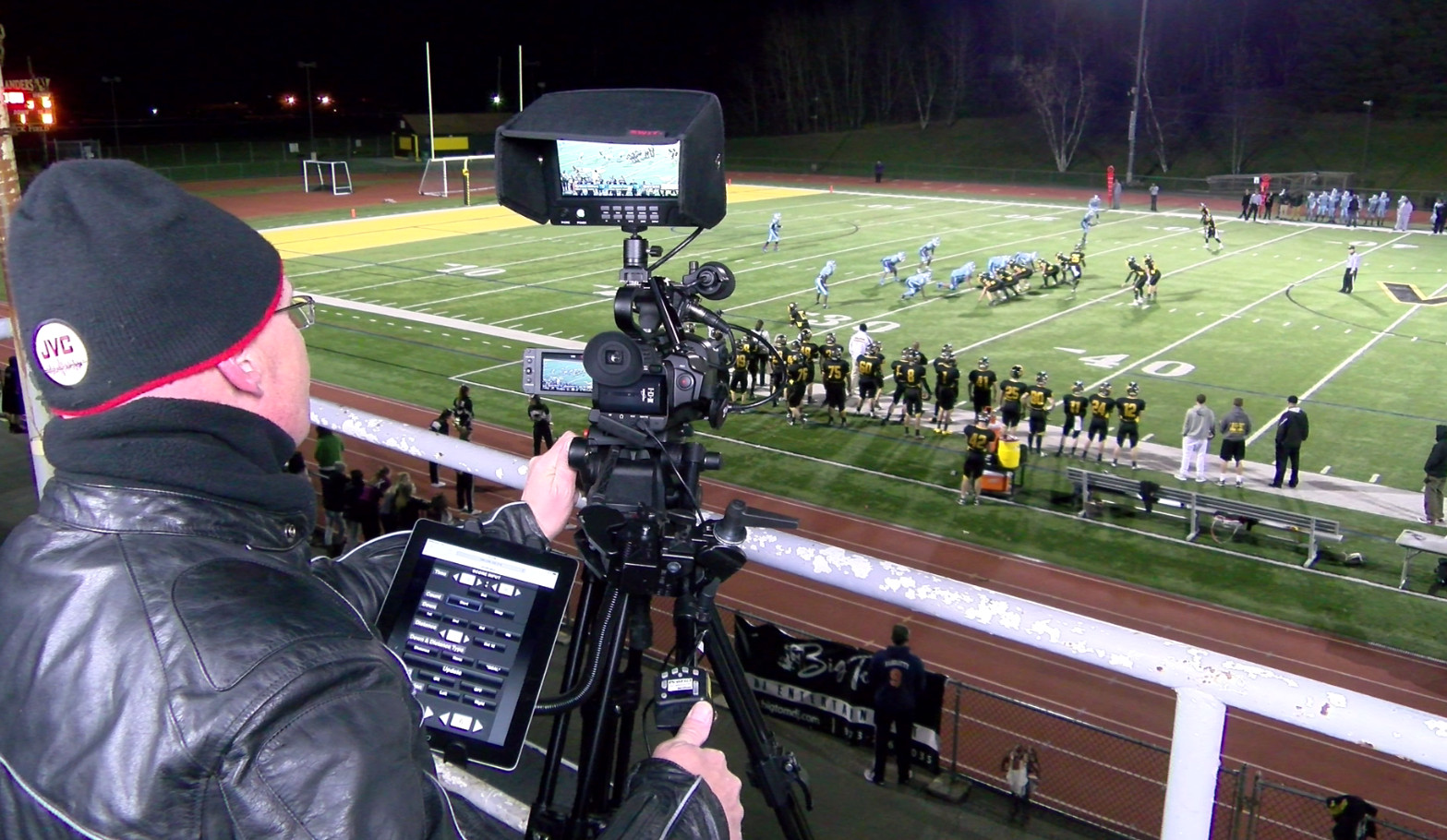 The camcorder rigged up with a Tablet sending the graphics to the camera's output.