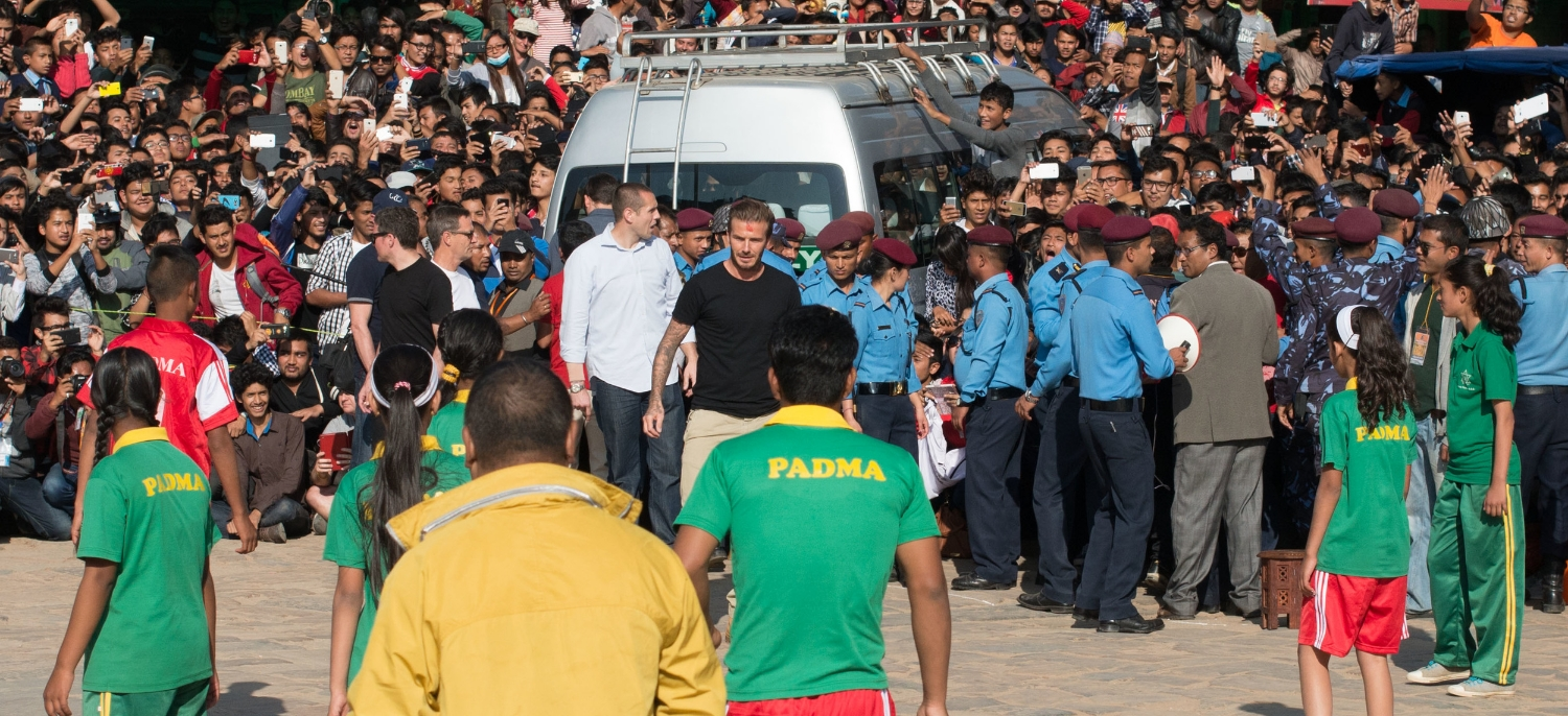 David Beckham arrives to play football in earthquake hit Nepal. 5,000 fans turned up unannounced.