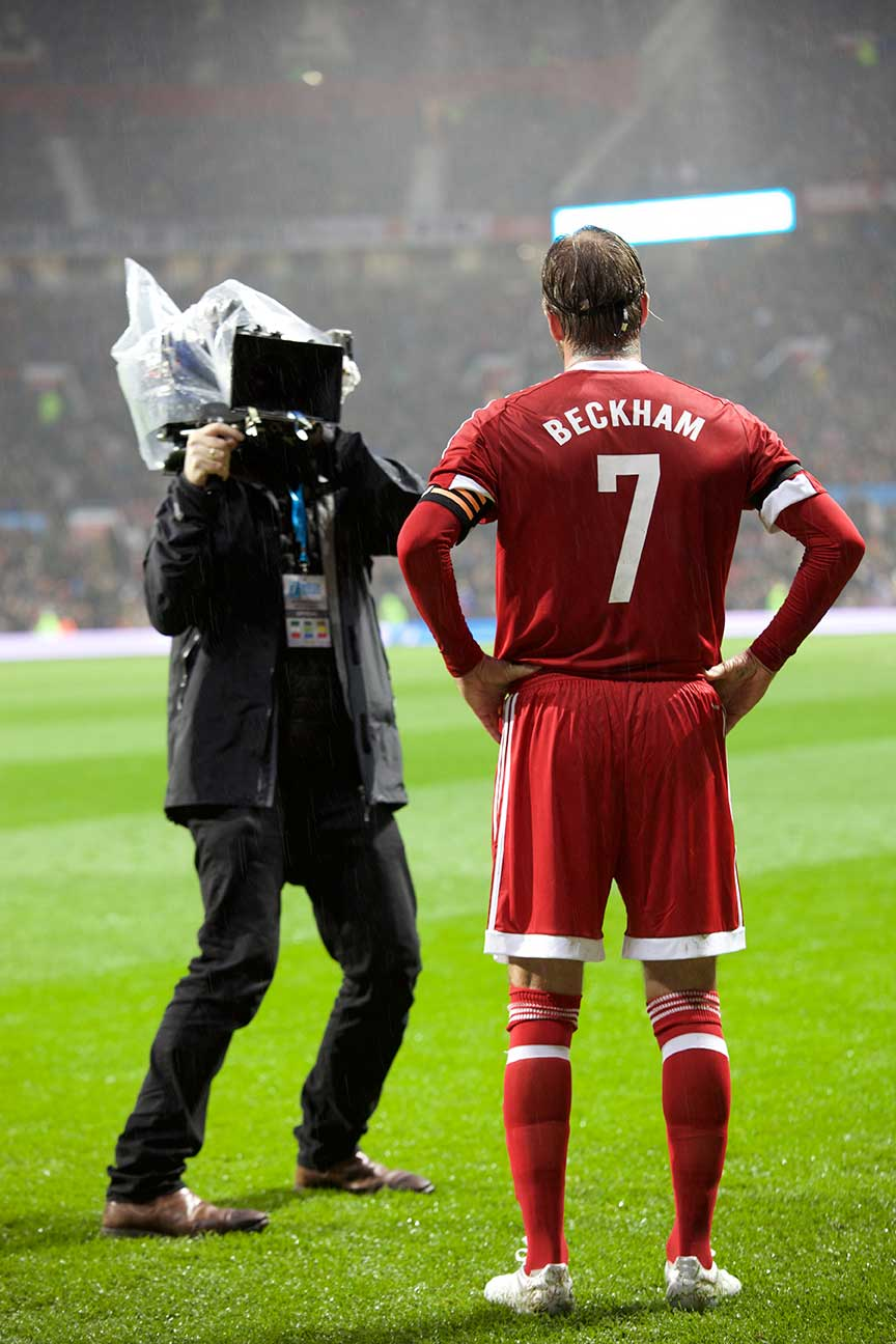 DoP Neil Harvey doing his 'usual' 360˚ before Beckham takes to the pitch, this time closer to home at Old Trafford, Manchester.