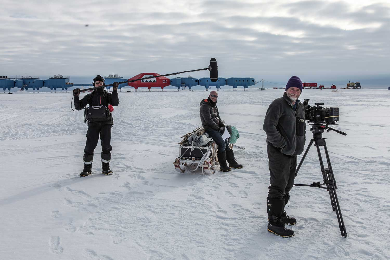 With the British Antarctic research station at Halley in the background from left to right on sound was Doug Dreger, the presenter Peter Gibbs and David Baillie with his Arri Alexa Mini camera.