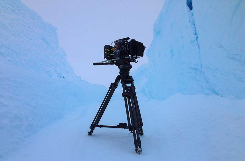 The Arri Mini rig in the blue of the Antarctic.