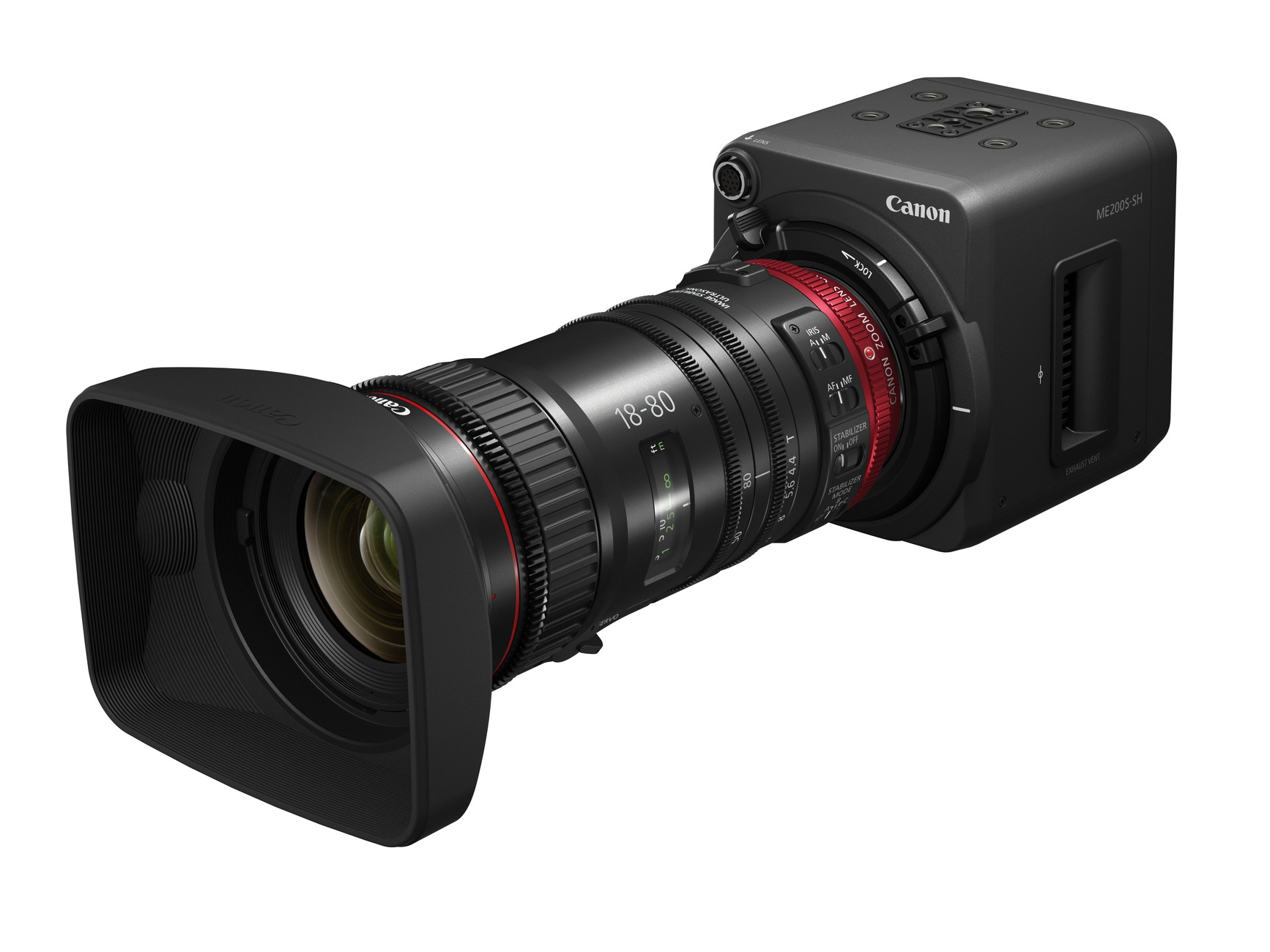 The newly announced Canon ME200S camera with the new 18-80mm T4.4 lens.