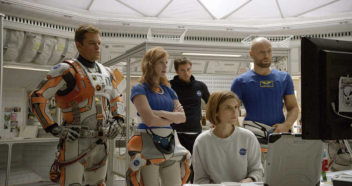 """'The Martian' - """"When we get to the dark scenes we were able to make the blacks even darker in HDR and you can still see the faces, like in the big sandstorm night sequence – you can drive your blacks a lot darker. Also when they're inside of the hub there are occasions where Ridley Scott would want highlights that were a lot brighter, that helped the narrative."""""""