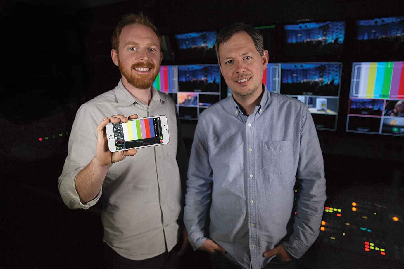 The iPhone Pros with 'Mavis' their new App. Left: Patrick Holroyd, Right: Phil Watten.