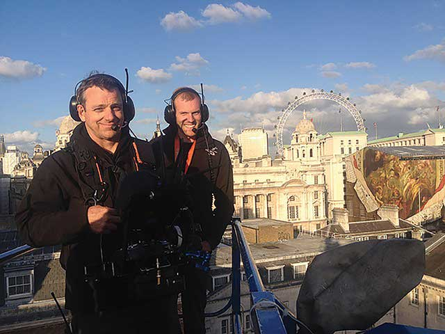 Jeremy Braben (left) and Pete Ayriss of HFS on the set of 'Spectre'.