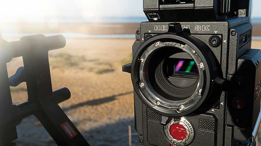The RED Epic-W camera on location showing its massive 8192 x 4320 px sensor.