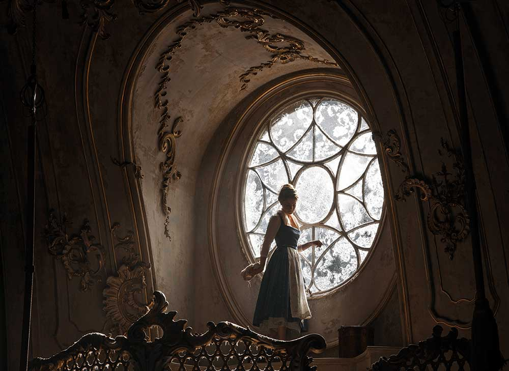 Very high wattage SoftSun lights recreated sunlight flooding in to the castle once Belle started cleaning the windows.