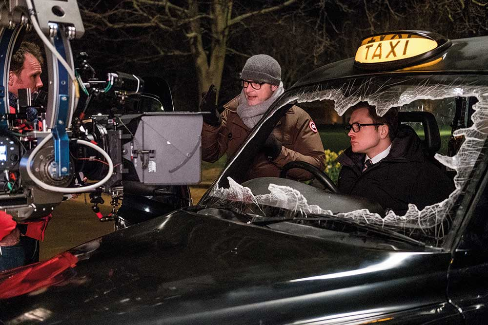 From the set of the film with Director Matthew Vaughn and actor Taron Egerton.