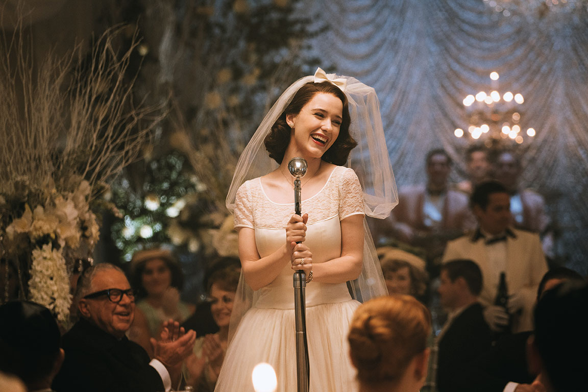 We are first introduced to Mrs. Maisel at her wedding reception dinner. The venue was a large ballroom in a college in the Upper West Side of New York City.