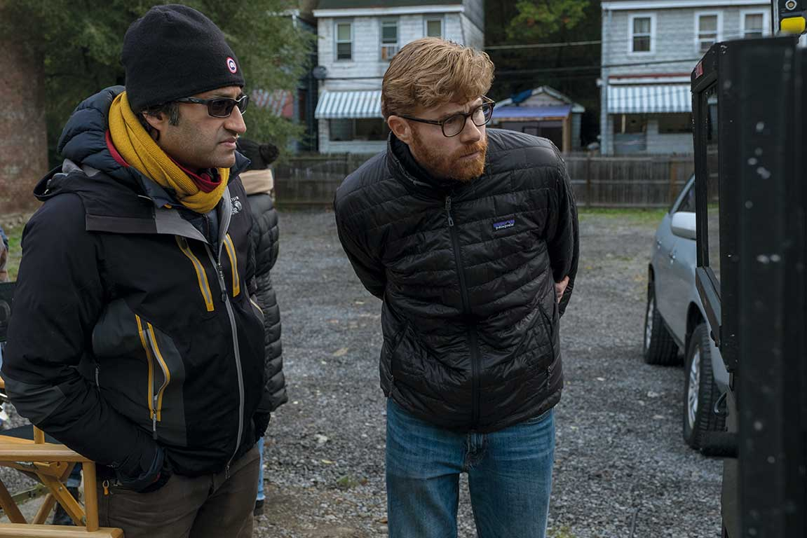 Asif Kapadia, director of episodes three and four, with Erik (right) on the  Mindhunter  set.