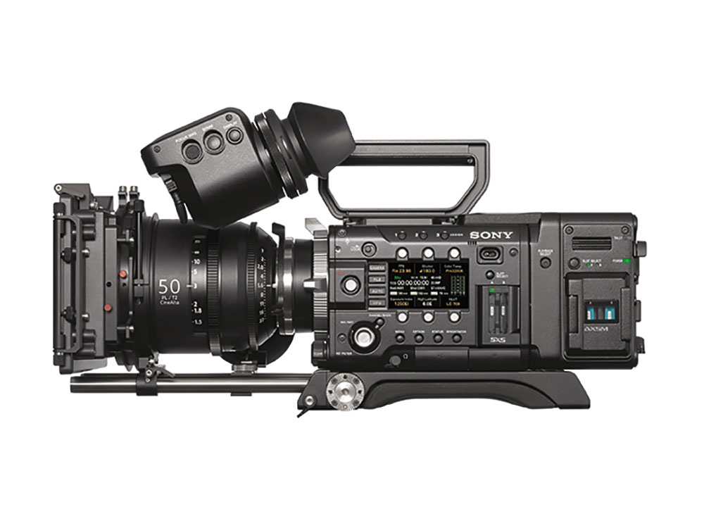 Sony's F5 camera fitted with the AXS-R7 recorder, which offers the new X-OCN format.