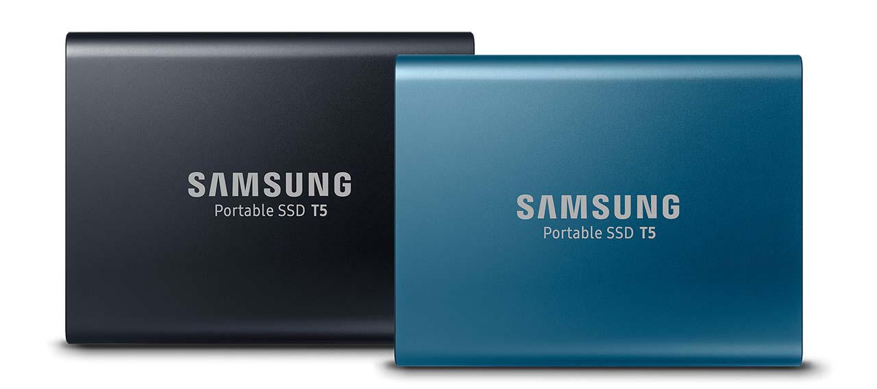 ABOVE  The Samsung Portable SSD T5 comes in 250GB, 500GB (both in alluring blue), 1TB and 2TB (both in deep black) capacities.