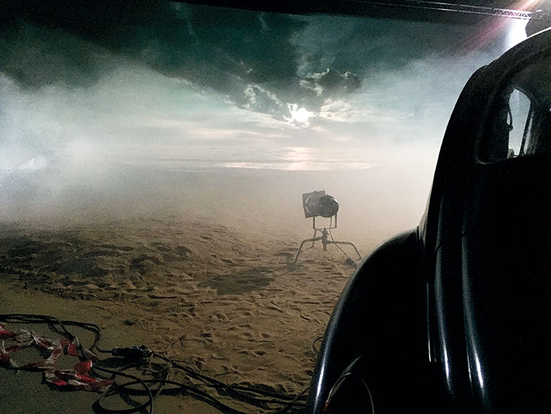 The film uses back projection to recreate the skies of California.